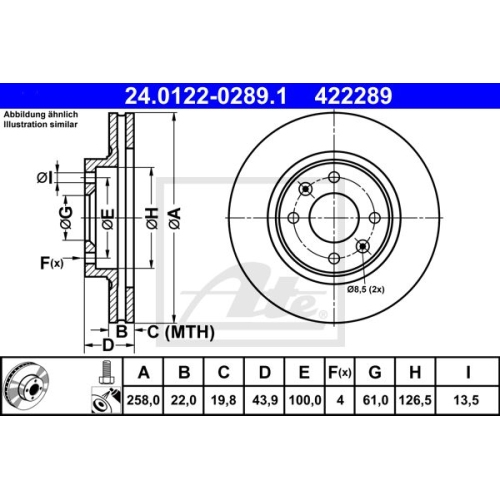 Disc frana Ate 24012202891, parte montare : punte fata
