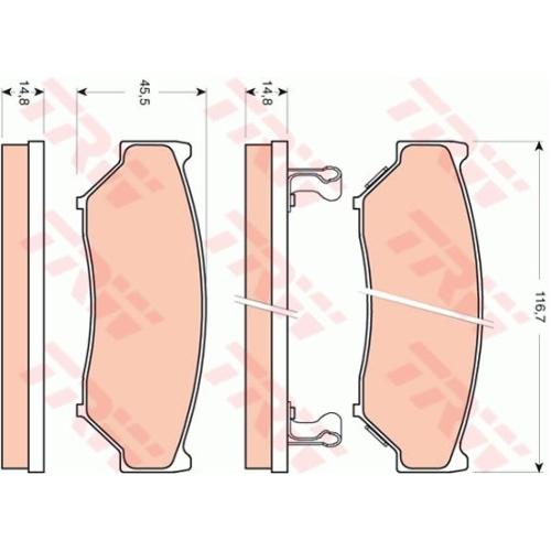 Set placute frana Trw GDB3436, parte montare : Punte fata