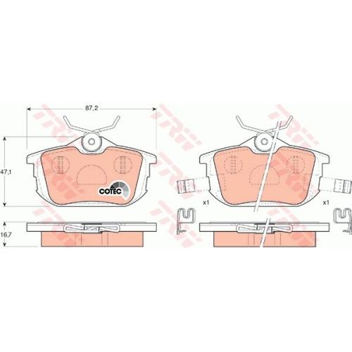 Set placute frana Trw GDB1314, parte montare : Punte spate