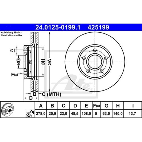 Disc frana Ate 24012501991, parte montare : punte fata