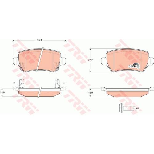 Set placute frana Trw GDB1515, parte montare : Punte spate