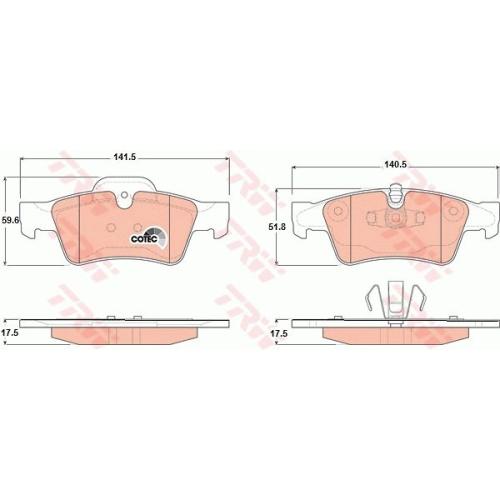 Set placute frana Trw GDB1643, parte montare : Punte spate
