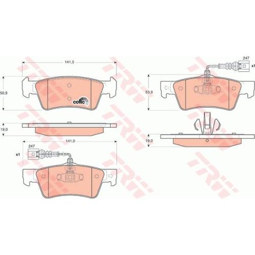 Set placute frana Trw GDB1672, parte montare : Punte spate