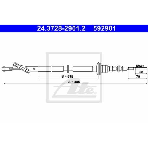 Cablu ambreiaj Chevrolet Aveo (T250, T255), Kalos; Daewoo Kalos (Klas) Ate 24372829012