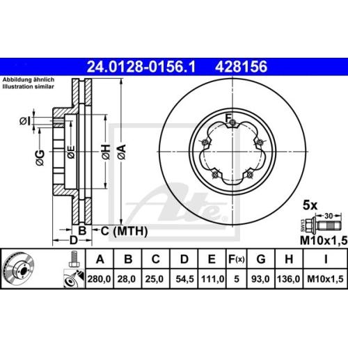 Disc frana Ate 24012801561, parte montare : punte fata