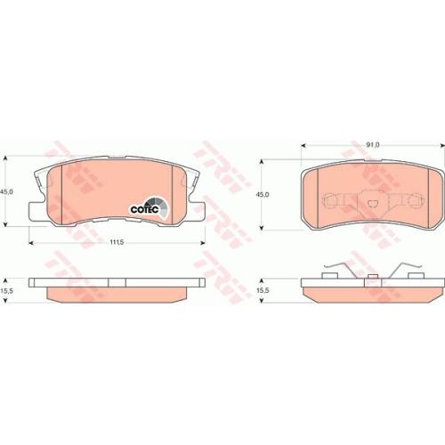 Set placute frana Trw GDB3247, parte montare : Punte spate