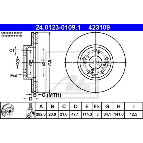 Disc frana Ate 24012301091, parte montare : punte fata