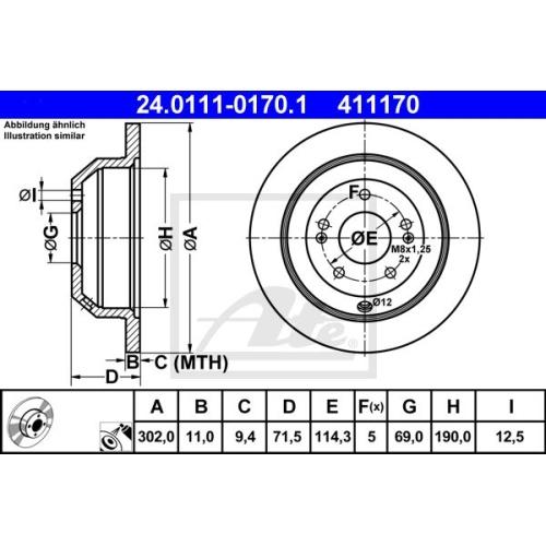 Disc frana Ate 24011101701, parte montare : punte spate