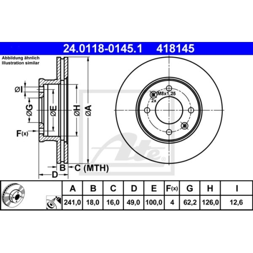 Disc frana Ate 24011801451, parte montare : punte fata