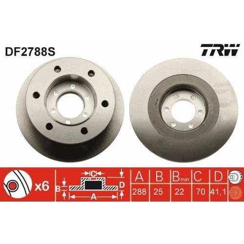 Disc frana Trw DF2788S, parte montare : punte fata
