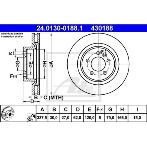 Disc frana Ate 24013001881, parte montare : punte fata