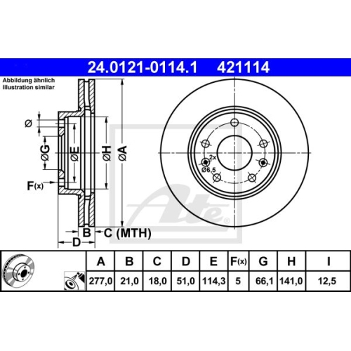 Disc frana Ate 24012101141, parte montare : punte fata