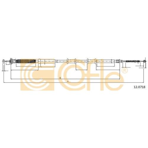Cablu frana mana Abarth Punto (199); Fiat 500 (312), 500 C (312), Grande Punto (199), Punto (199), Punto Evo (199) Cofle 120718, parte montare : dreapta, spate