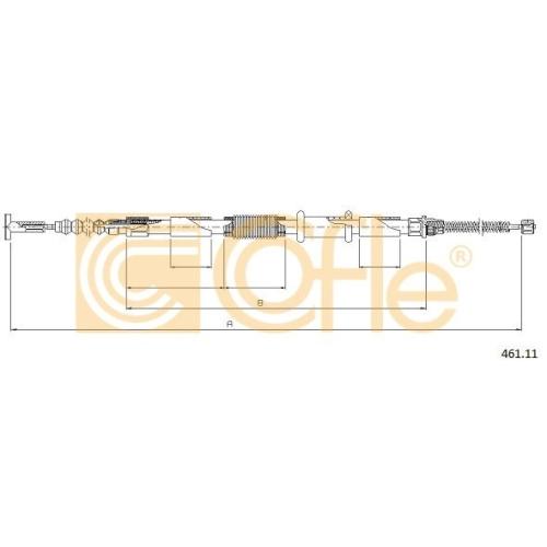 Cablu frana mana Alfa Romeo 145 (930), 146 (930); Fiat Brava (182), Bravo 1 (182), Marea (185) Cofle 46111, parte montare : stanga, spate