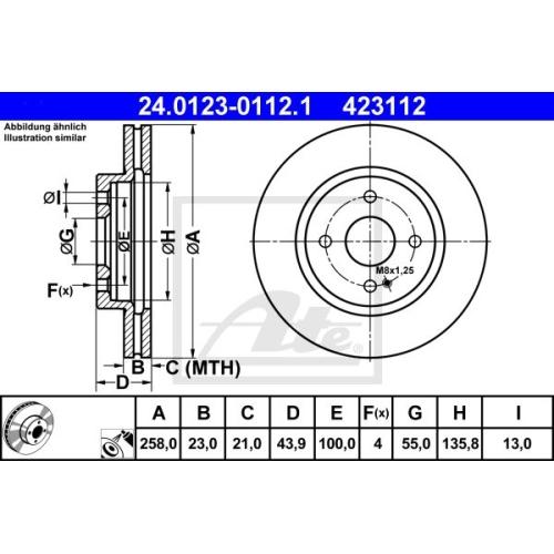 Disc frana Ate 24012301121, parte montare : punte fata