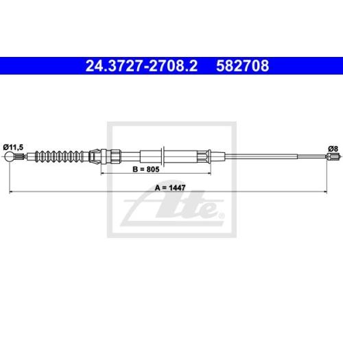 Cablu frana mana Audi A3 (8p1); Seat Altea (5p), Leon (1p1), Toledo 3 (5p2); Skoda Octavia 2 (1z3); Vw Eos (1f7, 1f8), Golf Plus (5m1, 521), Golf 5 (1k1), Jetta 3 (1k2) Ate 24372727082, parte montare : spate