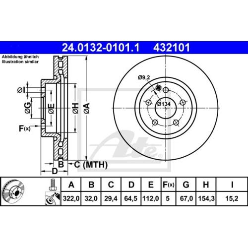 Disc frana Ate 24013201011, parte montare : punte fata
