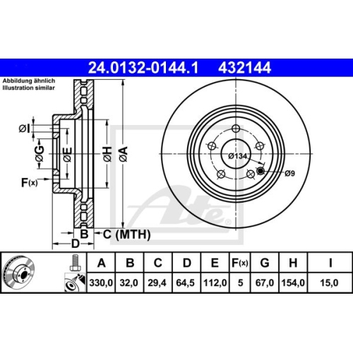 Disc frana Ate 24013201441, parte montare : punte fata