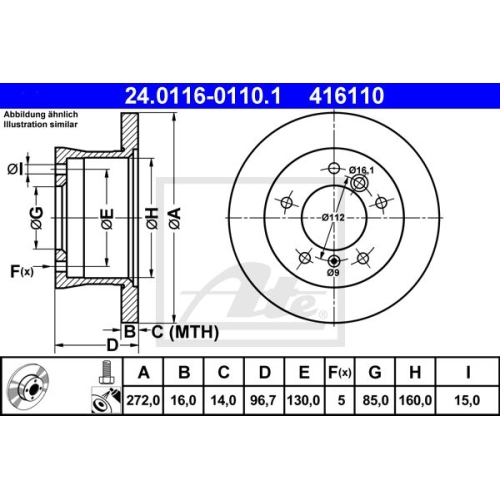 Disc frana Ate 24011601101, parte montare : punte spate