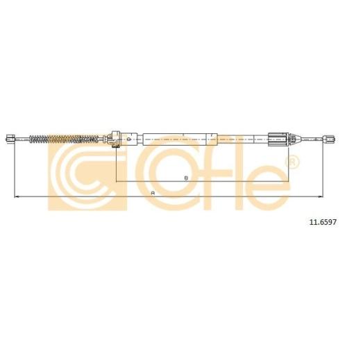 Cablu frana mana Citroen Berlingo Caroserie (M); Peugeot Partner (5f); Renault Clio 2, Symbol 1, Symbol 2 Cofle 116597, parte montare : stanga, spate