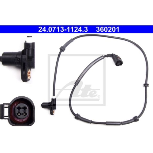 Senzor ABS Ate 24071311243, parte montare : Punte spate, Stanga