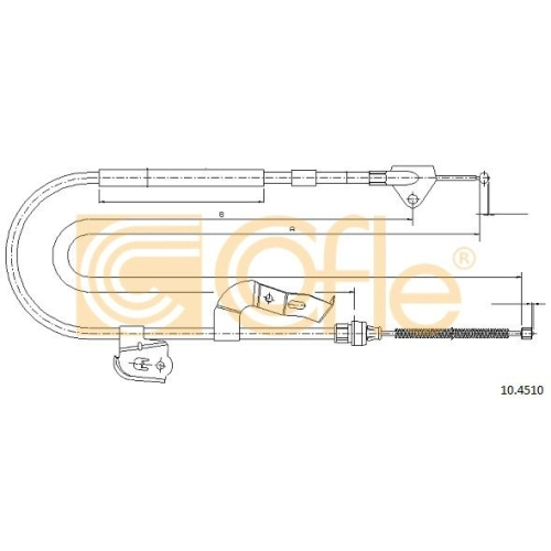 Cablu frana mana Citroen C1 (Pm, Pn); Peugeot 107; Toyota Aygo (Wnb1, Kgb1) Cofle 104510, parte montare : dreapta, spate