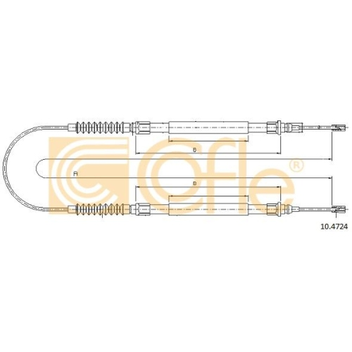 Cablu frana mana Citroen Jumper Bus (230p 244); Fiat Ducato (230 244); Peugeot Boxer Bus (230p 244) Cofle 104724, parte montare : spate
