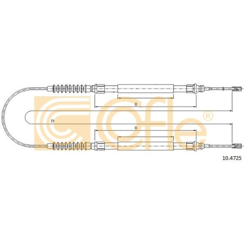 Cablu frana mana Citroen Jumper Bus (230p 244); Fiat Ducato (230 244); Peugeot Boxer Bus (230p 244) Cofle 104725, parte montare : spate