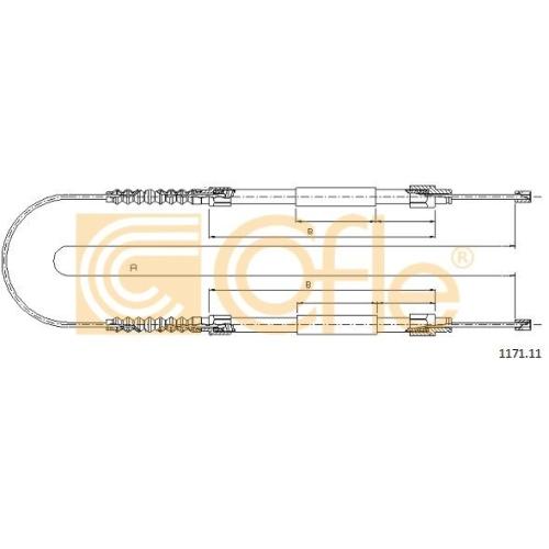 Cablu frana mana Citroen Jumper Bus (230p 244); Fiat Ducato Bus (230 290); Peugeot Boxer (230p) Cofle 117111, parte montare : spate