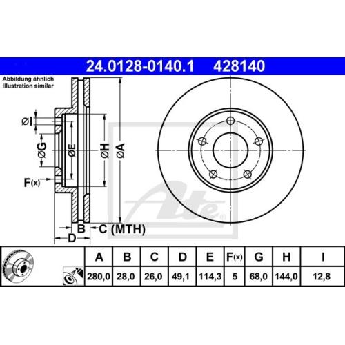 Disc frana Ate 24012801401, parte montare : punte fata