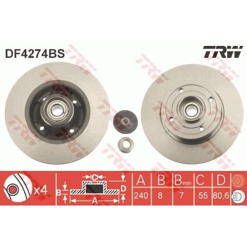 Disc frana Trw DF4274BS, parte montare : Punte spate
