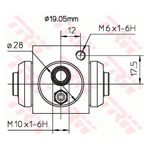 Cilindru receptor frana Trw BWD119A, parte montare : Punte spate, Stanga/ Dreapta