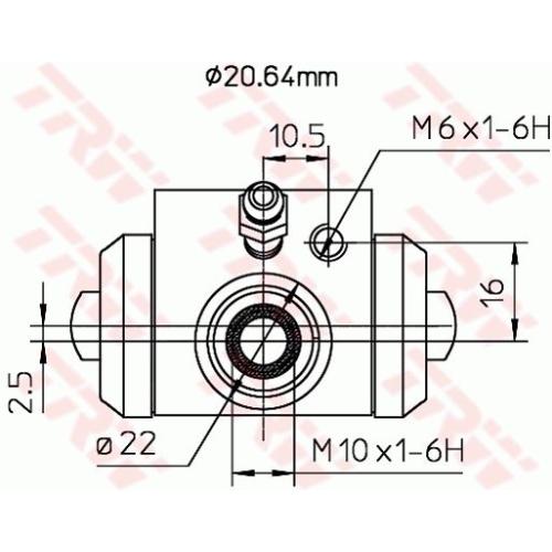 Cilindru receptor frana Trw BWF145A, parte montare : Punte spate, Stanga/ Dreapta