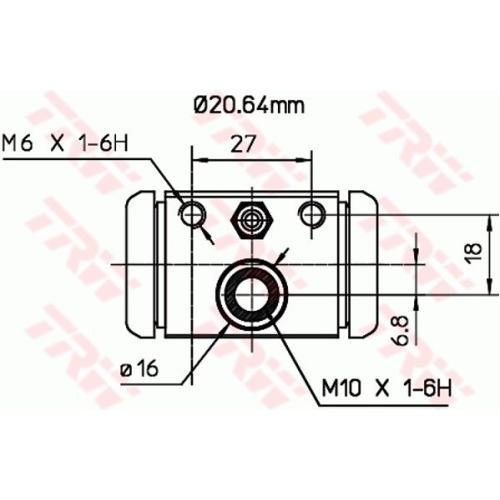 Cilindru receptor frana Trw BWF307, parte montare : Punte spate, Stanga/ Dreapta