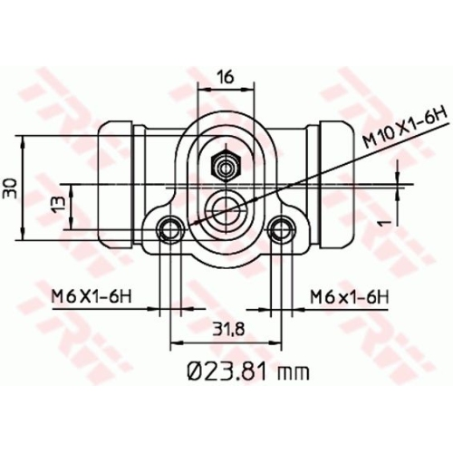 Cilindru receptor frana Trw BWK103, parte montare : Punte spate, Stanga/ Dreapta