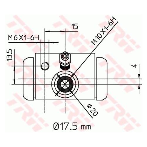 Cilindru receptor frana Trw BWC243, parte montare : Punte spate, Stanga/ Dreapta