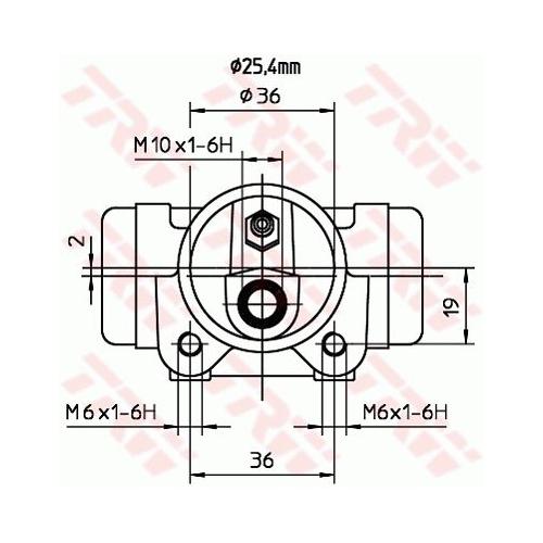 Cilindru receptor frana Trw BWL204, parte montare : Punte spate, Stanga/ Dreapta