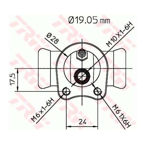 Cilindru receptor frana Trw BWD119, parte montare : Punte spate, Stanga/ Dreapta