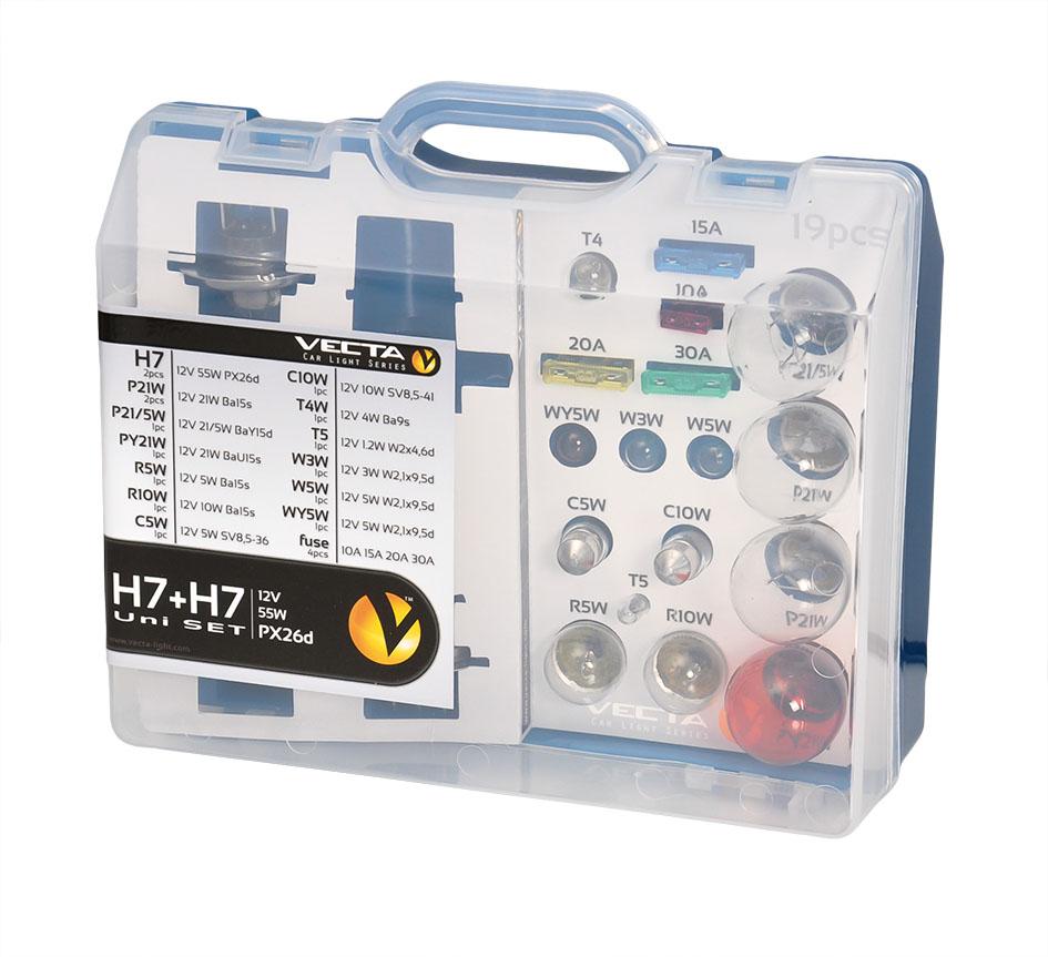 Set becuri rezerva cu doua becuri H7 55W ,Trusa becuri Auto + Sigurante Vecta 19 piese