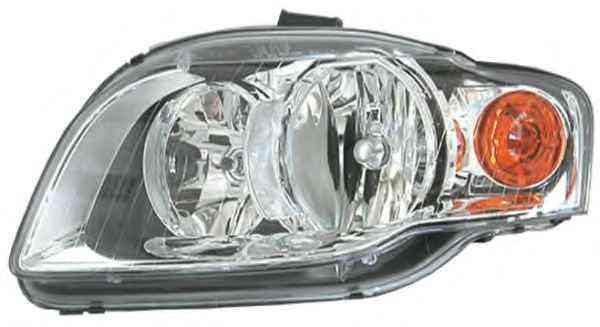 Far Audi A4 (B7) 11.2004-09.2006 fata stanga tip bec H7+H7 semnalizare portocalie cu motoras si soclu bec