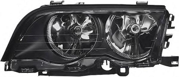 Far Bmw Seria 3 E46 Sedan/Combi 06.1998-09.2001 DJ AUTO fata stanga tip bec H7+H7, reflector negru, cu motoras