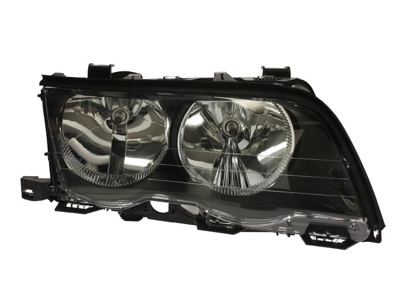 Far Bmw Seria 3 E46 Sedan/Combi 06.1998-09.2001 DJ AUTO fata dreapta tip bec H7+H7 reflector negru cu motoras
