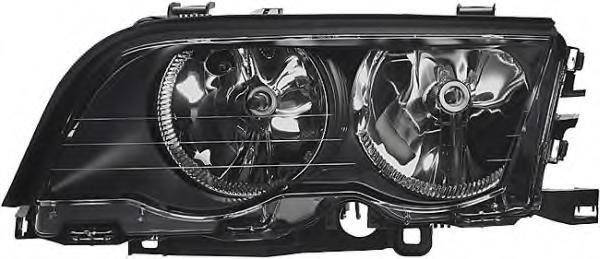 Far Bmw Seria 3 (E46) Sedan/Combi 06.1998-09.2001 fata dreapta 200810SE reflector negru, tip bec H7+H7 fara suport becuri, cu motoras