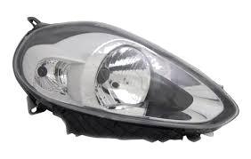 Far Fiat Punto Evo (199) 09.2009- Depo partea Dreapta, tip bec H4, lumini de zi, cu rama argintie, reglaj electric