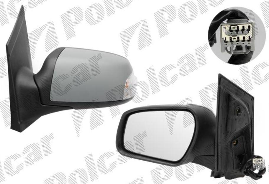 Oglinda exterioara Ford Focus 2 (Da ) 11.2004-01.2008 partea stanga View Max crom convex carcasa prevopsita grunduita reglare electrica cu incalzire