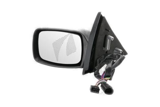 Oglinda exterioara Ford Escort (Gal/Aal/Abl/All/Afl), 01.1995-02.1999, partea Dreapta, culoare sticla crom, sticla convexa, carcasa neagra, cu incalzire, ajustare electrica