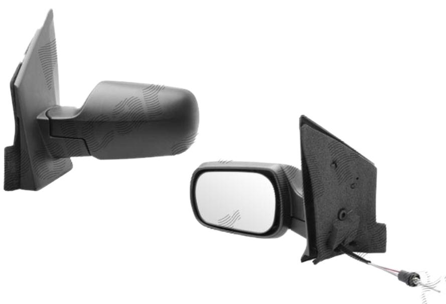 Oglinda exterioara Ford Fiesta (Jhs) 01.2002-09.2008 partea stanga View Max crom convex carcasa neagra reglare manuala prin cablu fara incalzire