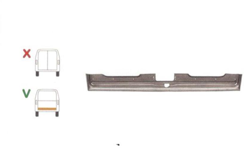 Element reparatie usa Ford TRANSIT (VE6/VE64/VE83), 10.1985-07.2000 pt modele cu haion, partea, pt haion;parte inferioara, jgheab; usa spate