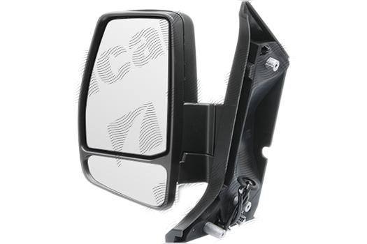 Oglinda exterioara Ford Transit/Tourneo Custom, 03.2013-, Ford Transit/Tourneo Custom, 03.2013-, partea Dreapta, culoare sticla crom, sticla convexa, cu carcasa neagra, ajustare manuala