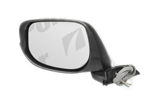 Oglinda exterioara Honda Jazz/Fit (Ge), 10.2008-01.2011, partea Dreapta, culoare sticla crom, sticla convexa, cu carcasa grunduita, cu incalzire, ajustare electrica